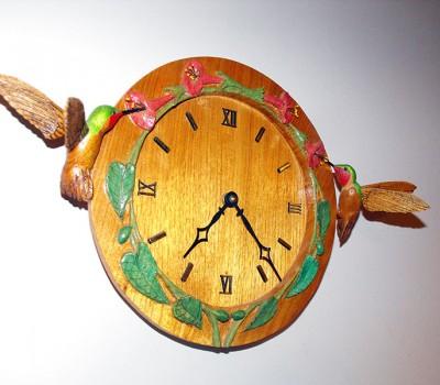 Ruby Throat Hummingbird Clock